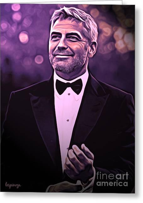 Award Digital Art Greeting Cards - George  Clooney Greeting Card by Larry Espinoza