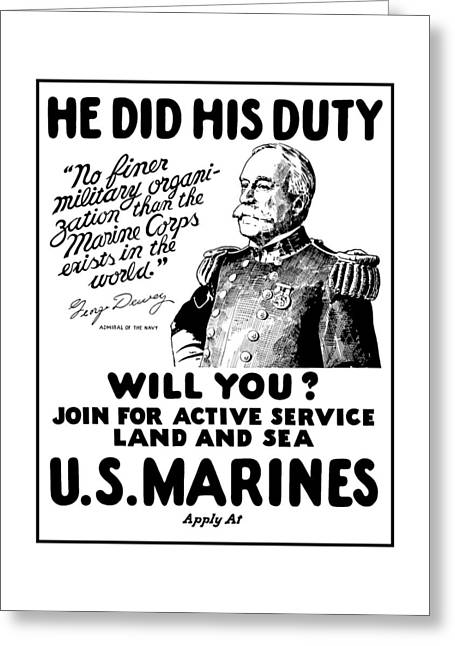 Semper Fidelis Greeting Cards - George Dewey - US Marines Recruiting Greeting Card by War Is Hell Store
