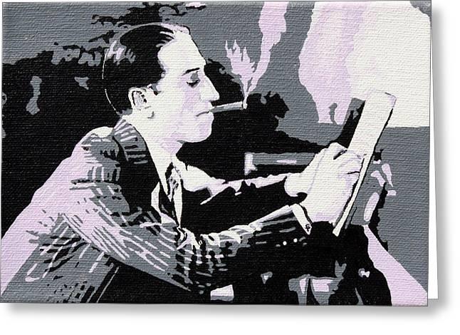 Gershwin Greeting Cards - George Gershwin Composing Greeting Card by Sheri Parris