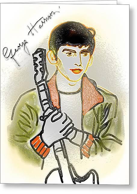 George Harrison - 3 Greeting Card by GooDaCool Gallery