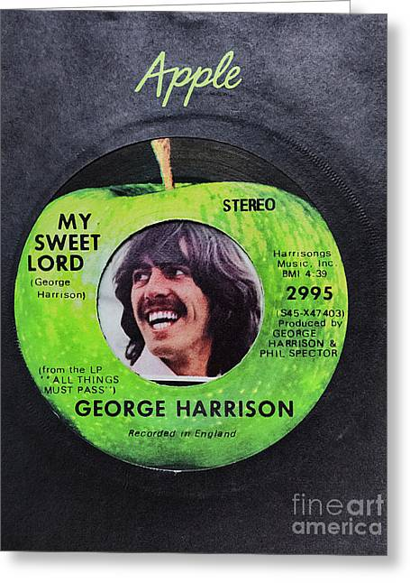 Apple Records Greeting Cards - George Harrison 45 Record Greeting Card by C W Hooper