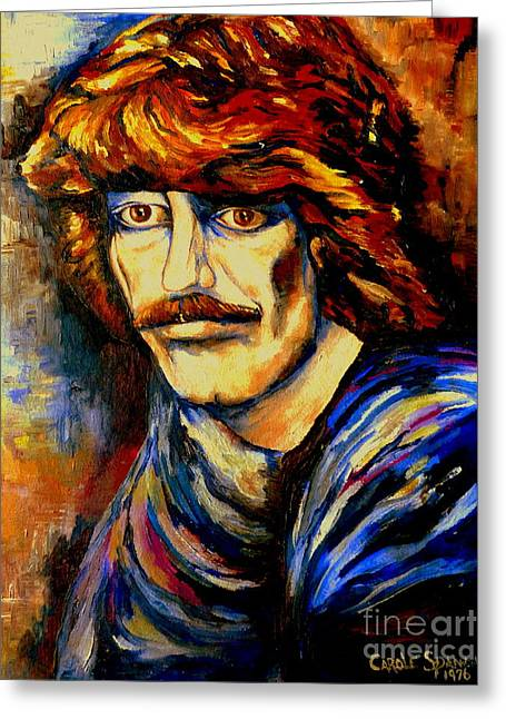 Mick Jagger Portrait Greeting Cards - George Harrison Greeting Card by Carole Spandau