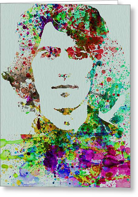 Lennon Mixed Media Greeting Cards - George Harrison Greeting Card by Naxart Studio
