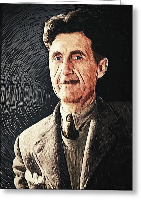 George Orwell Greeting Card by Taylan Soyturk