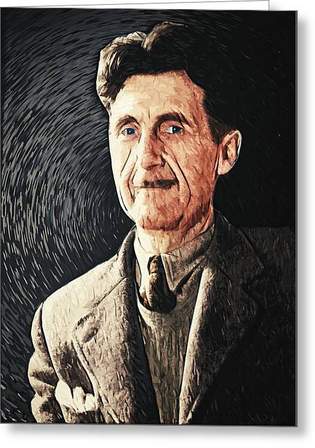 Injustices Greeting Cards - George Orwell Greeting Card by Taylan Soyturk