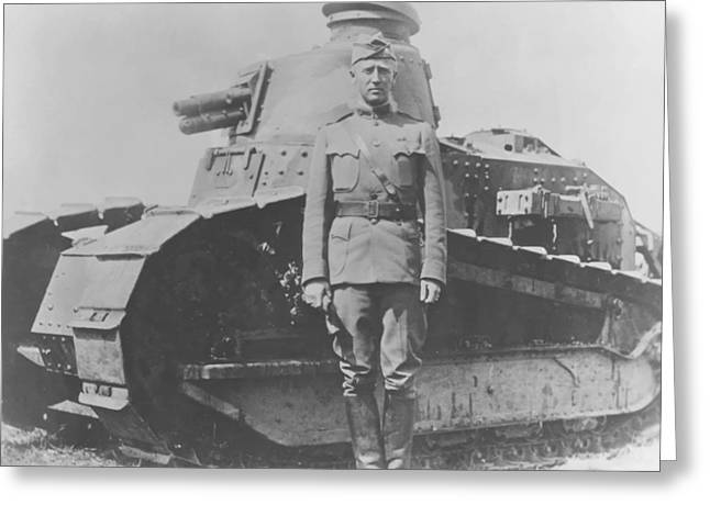 Army Tank Greeting Cards - George S. Patton During World War One  Greeting Card by War Is Hell Store