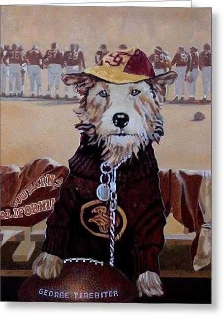 Mascots Paintings Greeting Cards - George Tirebiter Greeting Card by Debra Freeman