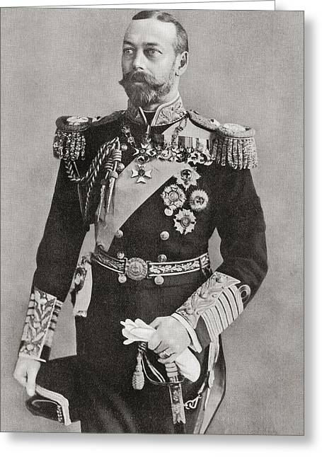 British Royalty Greeting Cards - George V, 1865 Greeting Card by Vintage Design Pics