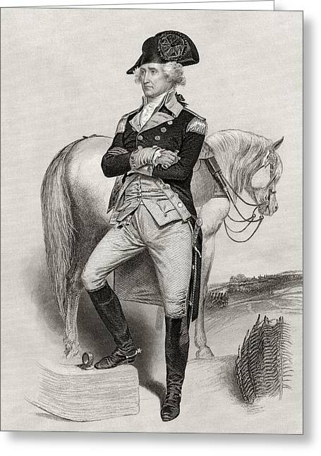 Fame Drawings Greeting Cards - George Washington 1732 To 1799 In 1775 Greeting Card by Ken Welsh