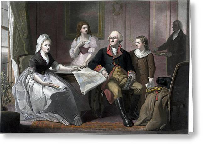 Custis Greeting Cards - George Washington And His Family Greeting Card by War Is Hell Store