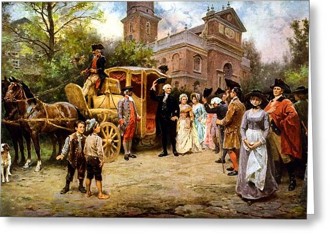 Politicians Paintings Greeting Cards - George Washington arriving at Christ Church Greeting Card by War Is Hell Store