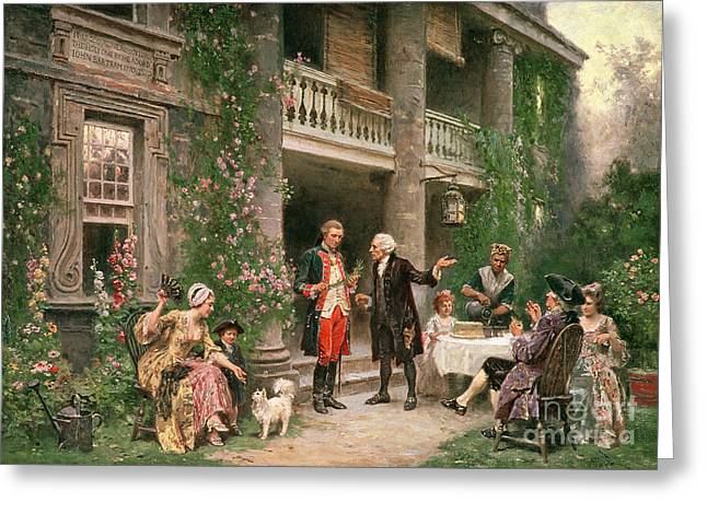 20th President Greeting Cards - George Washington at Bartrams Garden Greeting Card by Jean Leon Jerome Ferris
