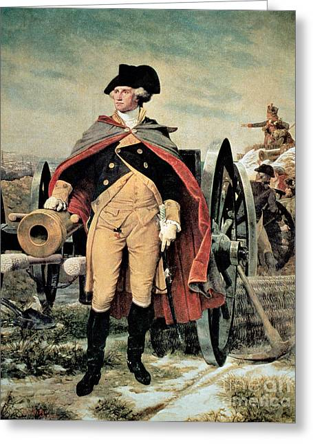 Troops Greeting Cards - George Washington at Dorchester Heights Greeting Card by Emanuel Gottlieb Leutze