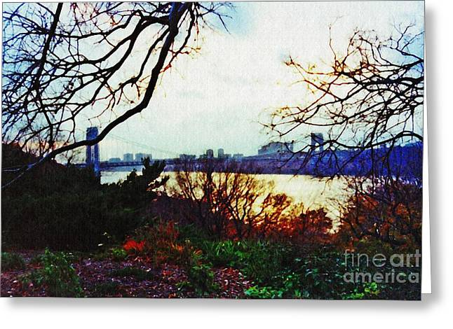 George Washington Bridge At Sunset 2 Greeting Card by Sarah Loft
