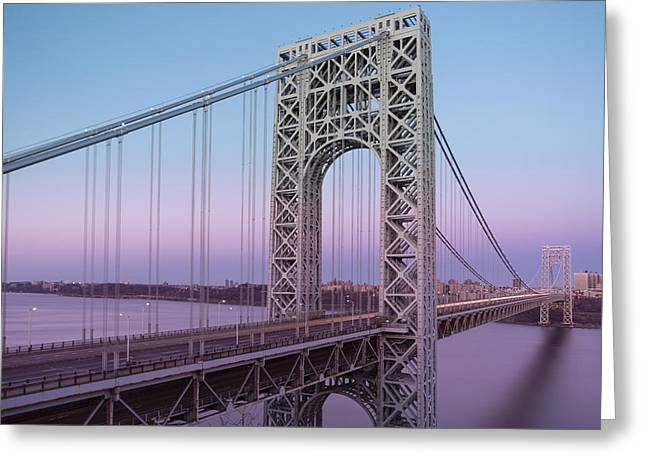 Ny Greeting Cards - George Washington Bridge End Of Day Greeting Card by Susan Candelario