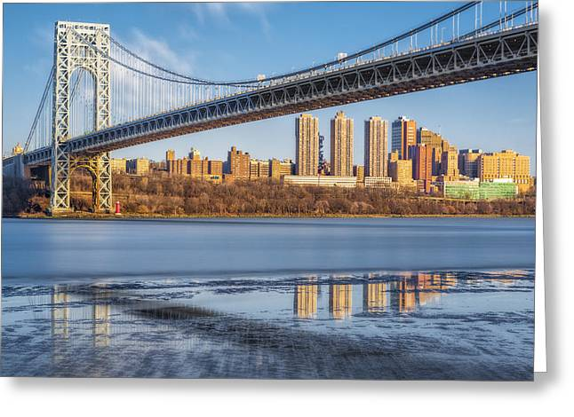 S-hooks Greeting Cards - George Washington Bridge NYC Reflections Greeting Card by Susan Candelario