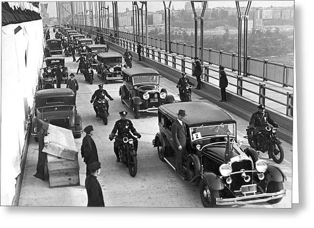 Police Force Of New York Greeting Cards - George Washington Bridge Open Greeting Card by Underwood Archives