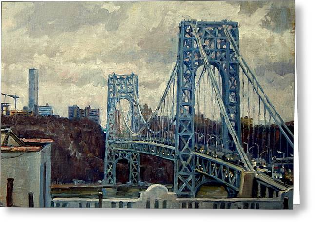 George Washington Bridge Greeting Card by Thor Wickstrom