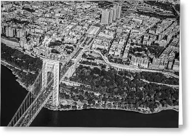 Architecture Greeting Cards - George Washington Bridge Upper Manhattan BW Greeting Card by Susan Candelario