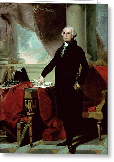 Officers Greeting Cards - George Washington Greeting Card by Gilbert Stuart