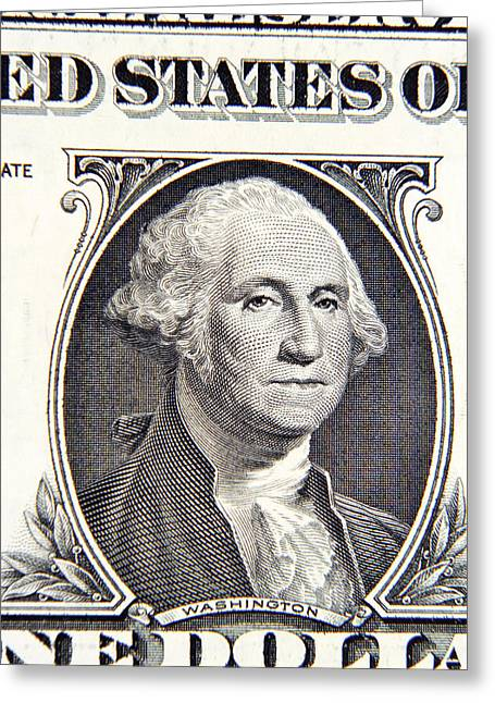 Dollar Greeting Cards - George Washington Greeting Card by Les Cunliffe