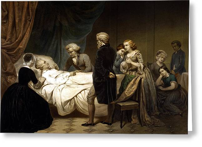 Founding Fathers Mixed Media Greeting Cards - George Washington On His Deathbed Greeting Card by War Is Hell Store