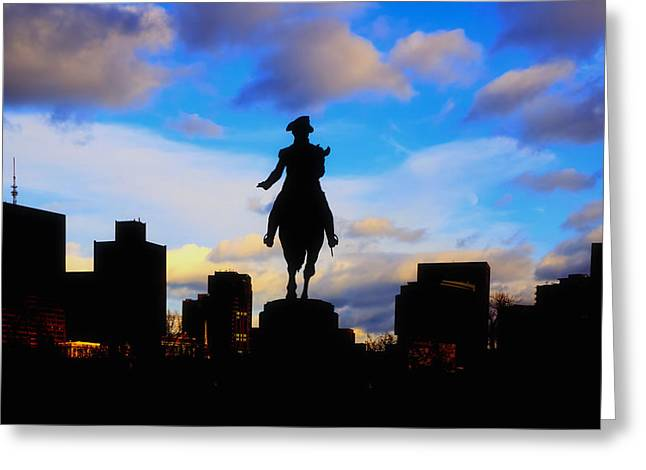 George Washington Statue Sunset - Boston Greeting Card by Joann Vitali