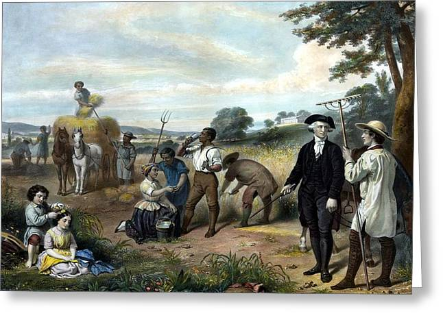 Father Mixed Media Greeting Cards - George Washington The Farmer Greeting Card by War Is Hell Store