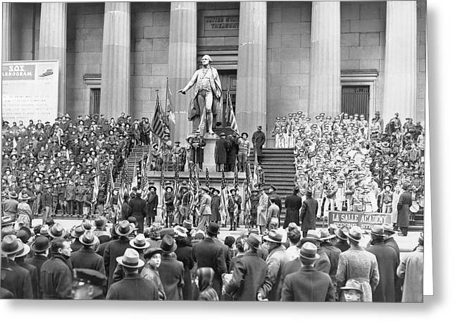 Federal Hall Greeting Cards - George Washingtons Birthday Greeting Card by Underwood Archives