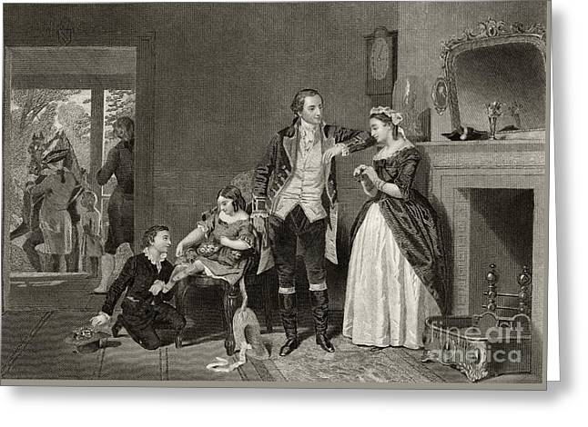 George Washington's First Interview With Mrs Martha Custis Greeting Card by Alonzo Chappel