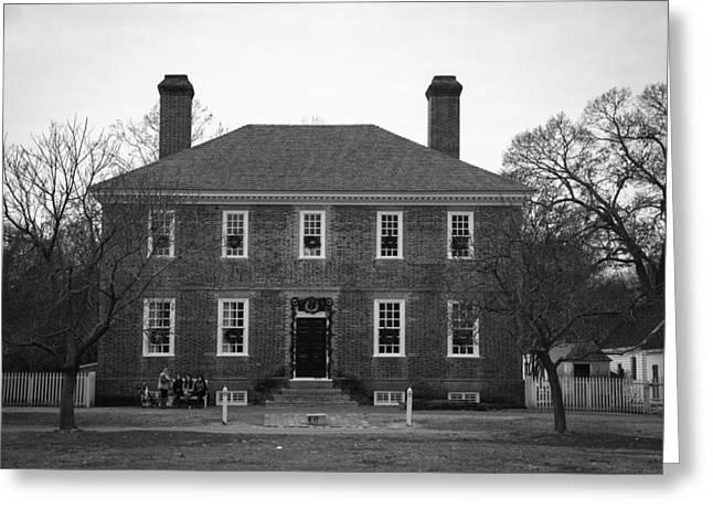 1752 Greeting Cards - George Wythe House Williamsburg B W 2014 Greeting Card by Teresa Mucha