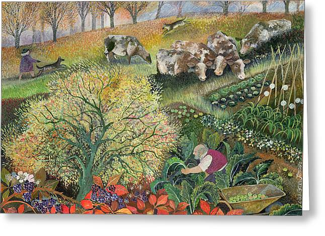 George's Allotment Greeting Card by Lisa Graa Jensen