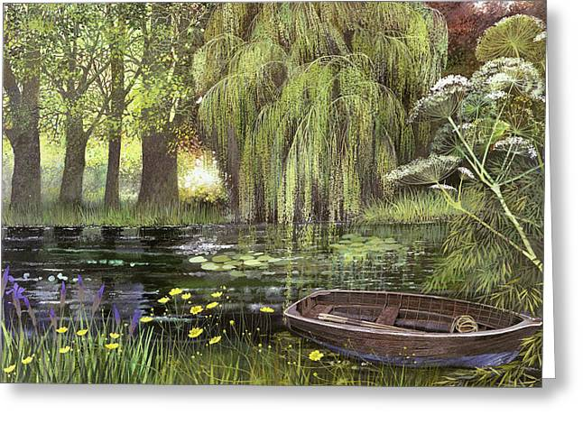 Willow Lake Greeting Cards - Georges Boat Greeting Card by Lisa Graa Jensen