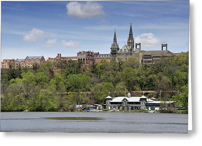 River View Greeting Cards - Georgetown University from Potomac River Greeting Card by Brendan Reals