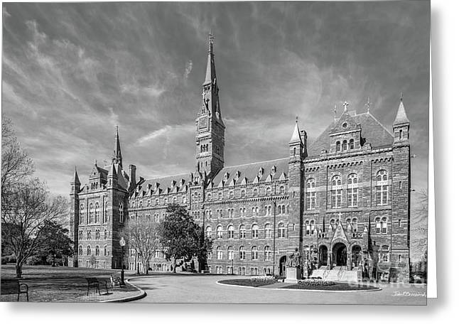 Bottom Greeting Cards - Georgetown University Healy Hall Greeting Card by University Icons