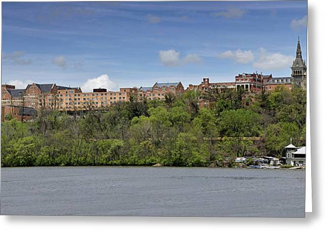 River View Greeting Cards - Georgetown University Panorama Greeting Card by Brendan Reals