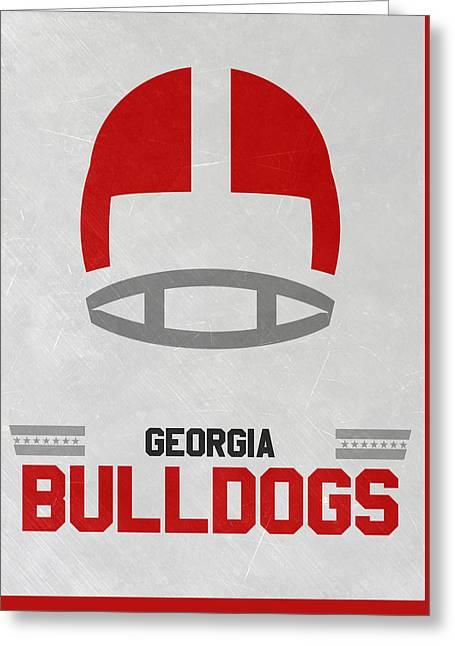 Georgia Bulldogs Vintage Football Art Greeting Card by Joe Hamilton
