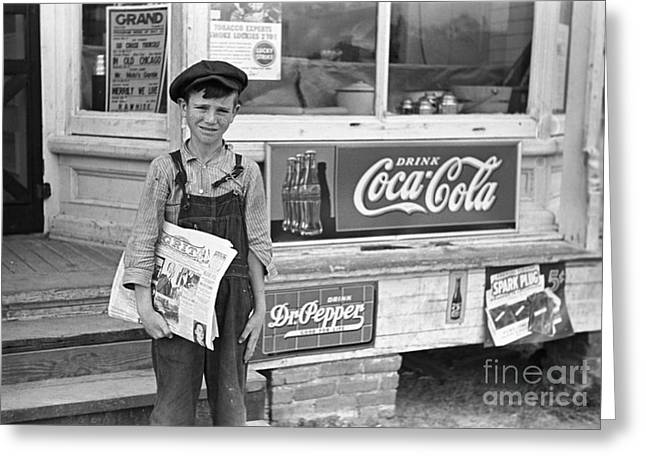 Overalls Greeting Cards - Georgia: Newsboy, 1938 Greeting Card by Granger
