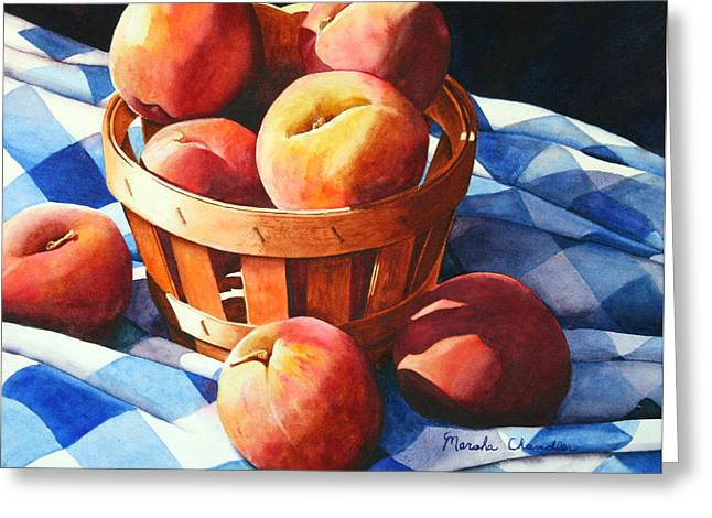 Checked Tablecloths Paintings Greeting Cards - Georgia Peaches Greeting Card by Marsha Chandler