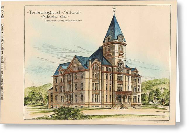 Technical Paintings Greeting Cards - Georgia Technical School. Atlanta Georgia 1887 Greeting Card by Bruce and Morgan