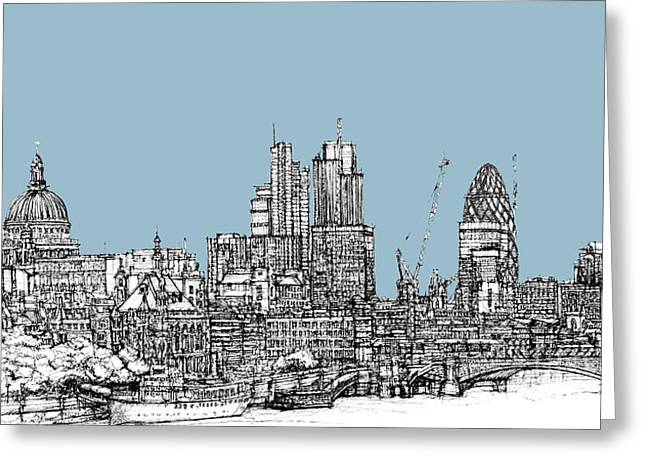City Skylines Framed Prints Greeting Cards - Georgian blue skies over London City skyline Greeting Card by Lee-Ann Adendorff