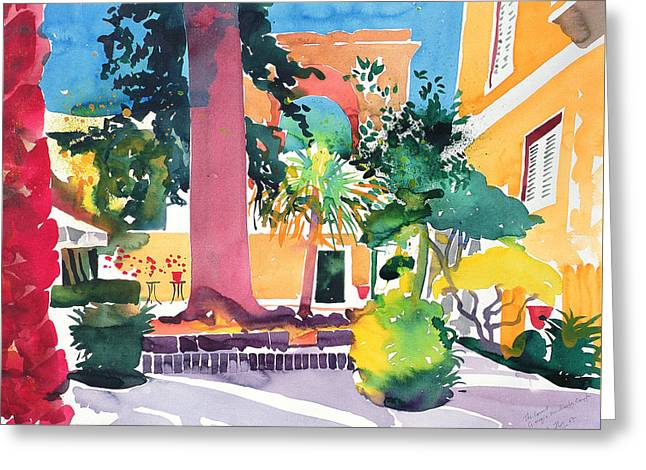 Colorful Trees Drawings Greeting Cards - Georgio Michaelis  Corfu Greeting Card by Simon Fletcher