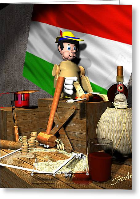 Chianti Bottle Greeting Cards - Geppettos Workbench-The Creation of Pinocchio Greeting Card by Stuart Stone