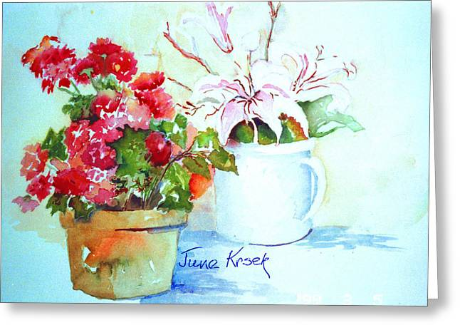 Red Geraniums Greeting Cards - Geranium and lily Greeting Card by June Krsek