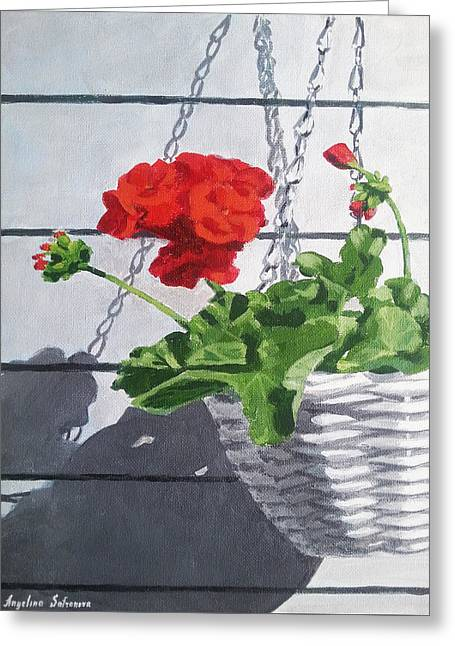 Red Geraniums Paintings Greeting Cards - Geranium Greeting Card by Angelina Sofronova