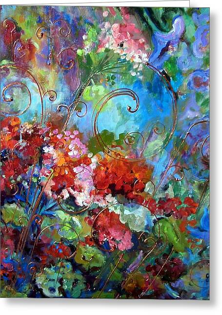 Red Geraniums Mixed Media Greeting Cards - Geranium Garden Greeting Card by Elaine Cory
