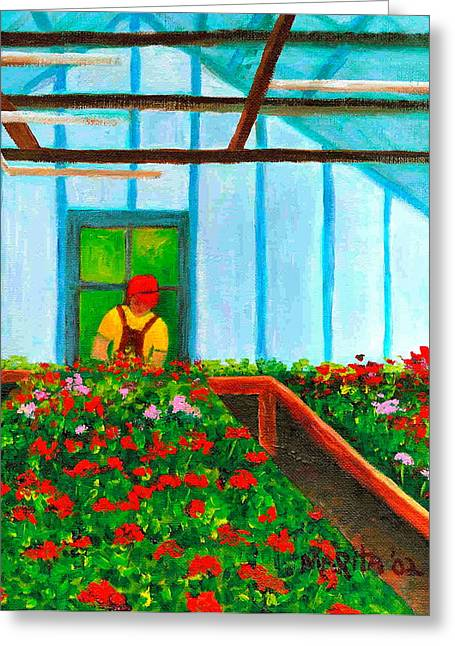Red Geraniums Greeting Cards - Geranium House Greeting Card by Marita McVeigh