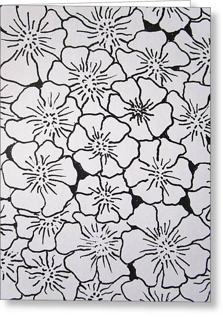 Geranium Pattern Greeting Card by Rosita Larsson
