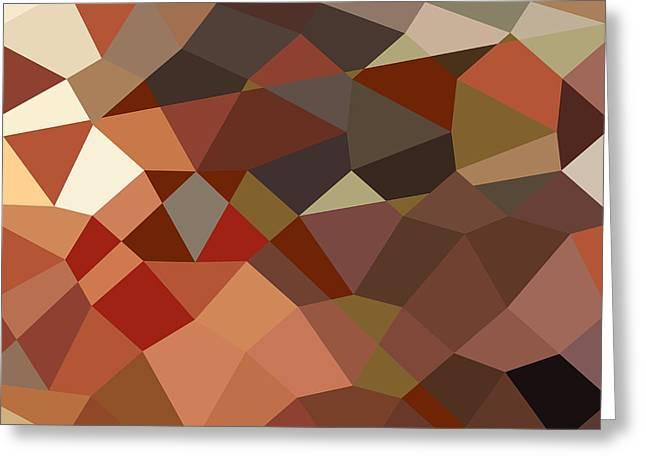Red Geraniums Digital Greeting Cards - Geranium Red Abstract Low Polygon Background Greeting Card by Aloysius Patrimonio