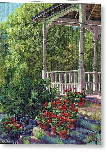 Recently Sold -  - Stepping Stones Greeting Cards - Geranium Summer Greeting Card by Mona Davis